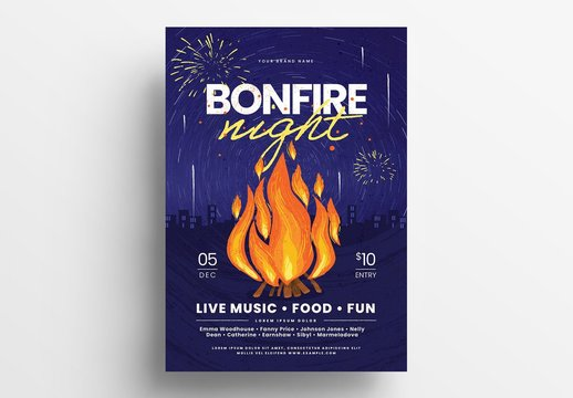 Event Flyer Layout with Bonfire Illustrations