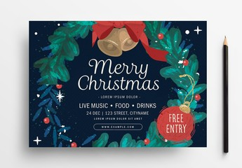 Holiday Event Flyer Layout with Wreath Illustration