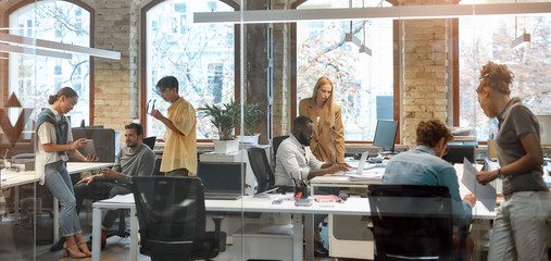 Working together on project. Group of young mixed race business people working together in the creative office. Team building concept. Office life Wall mural