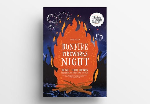 Event Poster Layout with Bonfire Illustrations