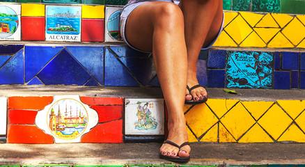 Foto auf Acrylglas Rio de Janeiro RIO DE JANEIRO, BRAZIL- November 23, 2019: Tourists visiting Escadaria Selaron famous public steps of artist Jorge Selaron in Rio de Janeiro, Brazil.