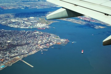 Panoramic view on Jersey river from the aeroplane window, USA.