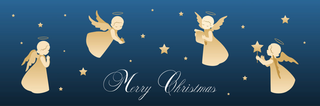 Merry Christmas card with angels and stars