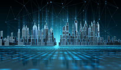 Futuristic cityscape view with wireless connection lines.