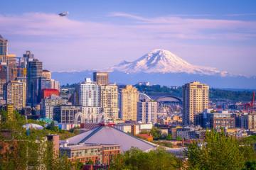 Seattle Washington - Planes, Buildings and Mt Rainier Fotomurales