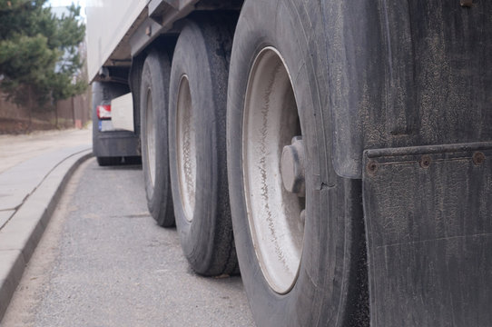 A damaged tire in the truck. Truck transport.