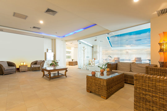 Interior of a luxury hotel spa center, waiting area