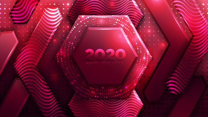 Happy New year 2020 Abstract Red Polygon Luxury Background