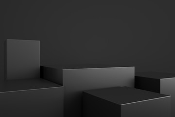 3D rendering of a dark geometric background for commercial advertising