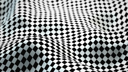 Abstract Morphed Checker Surface with Depth of Field Effect - 3D Illustration