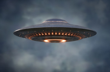 Foto auf Gartenposter UFO Alien UFO - Unidentified Flying Object - Clipping Path Included