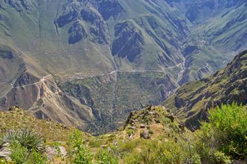 Panoramic view of the Colca Canyon, Arequipa. Peru