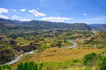 Terraces on the Colca River. In the background the birth of the Amazon River in the Cordillera Chila, on the slopes of the Mismi, in Arequipa, Peru