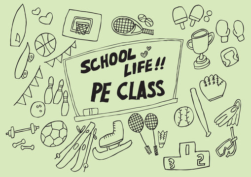 a variety of props necessary to express physical education classes. vector illustration.