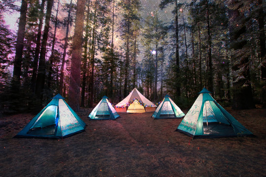 Mystical Camping Under the Night Sky