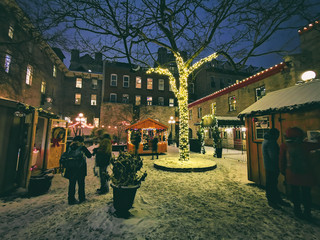 Christmas market at night in Ottawa, Canada. Winter holidays christmas shopping people lifestyle.