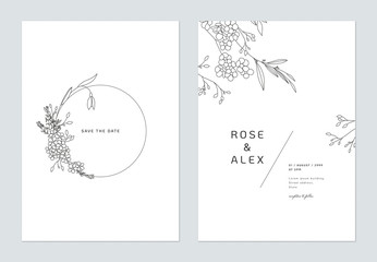 Minimalist wedding invitation card template design, floral black line art ink drawing decorated on circle frame on white