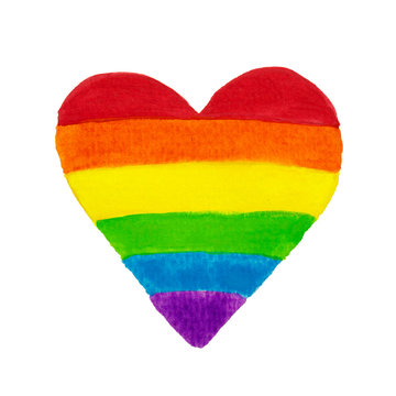 Hand drawn colored pencil heart shape rainbow colors. LGBT, LGBTQ+ or gay equality concept