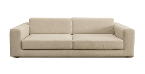 Modern flax couch. Sofa isolated on white background. Studio shoot