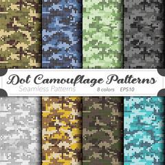 Seamless vector pattern set. Dot camouflage background. ドットカモフラージュ背景のベクターパターンセット