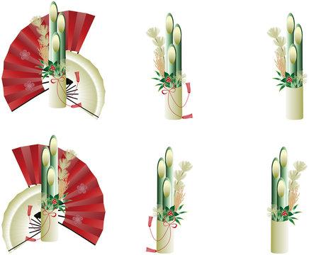 門松と扇子のセットイラスト