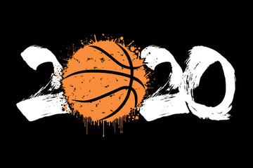 Abstract numbers 2020 and basketball ball from blots