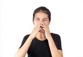 asian woman feel smell foul in white background