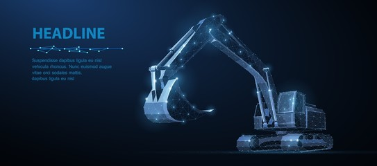 Excavator. Abstract vector 3d excavator isolated on blue background.