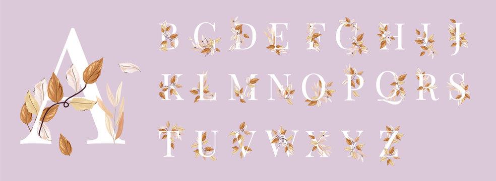 Golden autumn floral alphabets collection