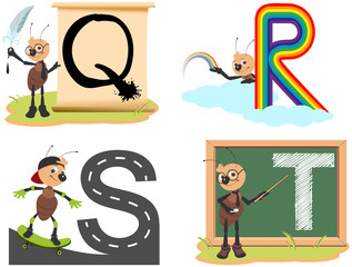 Learning English letters for kids. Set abc english alphabet quill, rainbow, skate, teacher