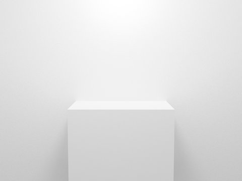3d exhibition stand. White blank empty podium isolated on gray background for presentation and exposition. Vector illustration for mock up store. Pedestal for display product. Interior stage design.