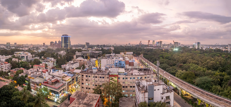 Aerial View of the Downtown Bangalore Skyline at Sunset