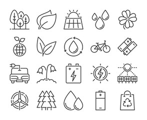 20 Eco icons. Nature and Ecology line icon set. Vector illustration. Editable stroke.