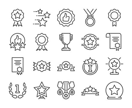 20 Awards icons. Awards and Achievements line icon set. Vector illustration. Editable stroke.