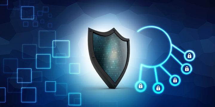 3d illustration Security concept - shield