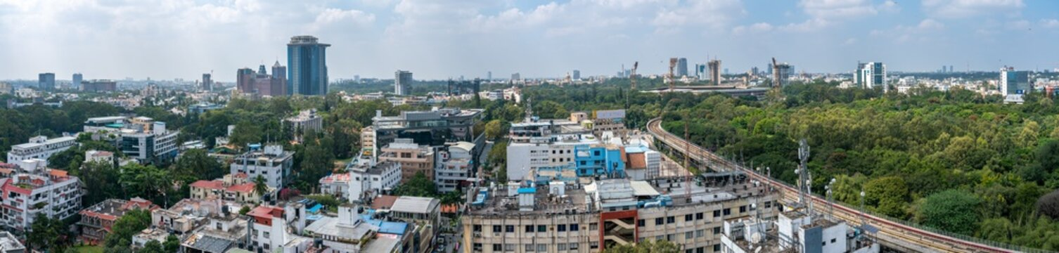 View of the Downtown Bangalore District From High Ground