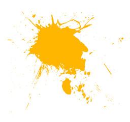 In de dag Vormen Yellow paint splash brush isolated on white