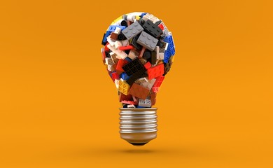 Bricks in light bulb shape Papier Peint