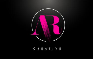 Pink AR Brush Stroke Letter Logo Design. Pink Paint Logo Leters Icon.