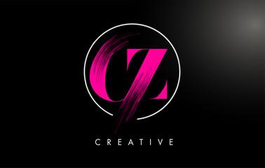 Fototapeta Pink CZ Brush Stroke Letter Logo Design. Pink Paint Logo Leters Icon. obraz