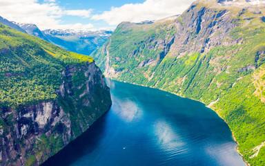 Fjord Geirangerfjord landscape, Norway.