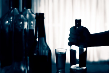Anonymous alcohol addiction, depression. Alcoholism concept