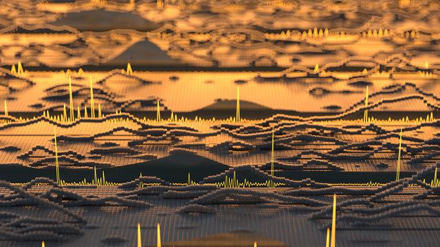 Visualization of audio wave 3D rendering illustration