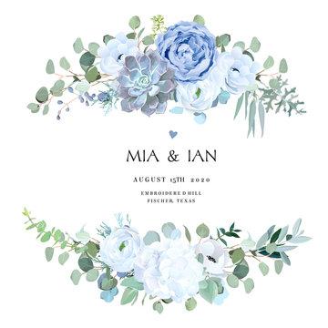 Dusty blue rose, echeveria succulent, white hydrangea, ranunculus, anemone