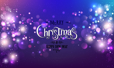 Fototapete - Merry Christmas Text on dark glitter background with Xmas decorations glowing garlands, light, stars, bokeh. Merry Christmas card. Vector Illustration, realistic vector