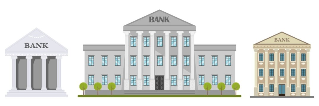 Cartoon retro bank building or courthouse with columns vector illustration. Bank building isolated on white background.