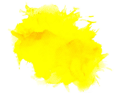 paint splash yellow watercolor on white background.