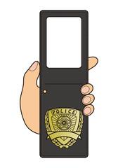 日本の警察IDのようなデザイン フォトフレーム テンプレート ベクターイラスト