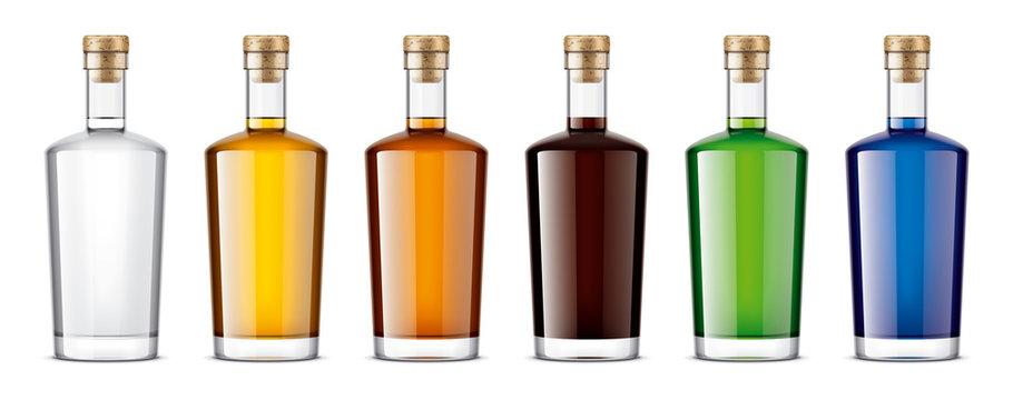 Set of Glass bottles. Cork version
