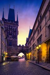 Fotomurales - Mala Strana Bridge Tower. Charles Bridge in Prague, Czech Republic.